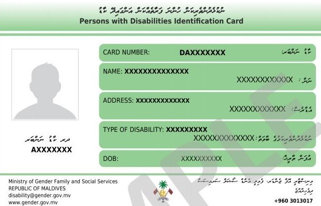 Disability Identification Card Sample image